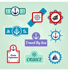 set of sea travel company icons vector image
