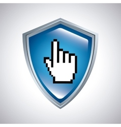 Shield with hand cursor icon vector