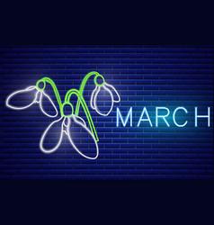 Snowdrop neon sign spring design element vector