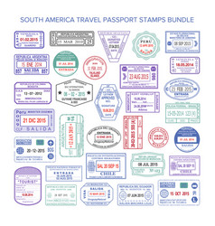 south america colour travel visa stamps set vector image