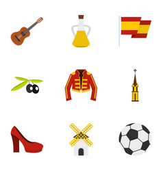 Spanish culture symbols icons set flat style vector