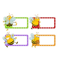 Square labels with happy bees vector