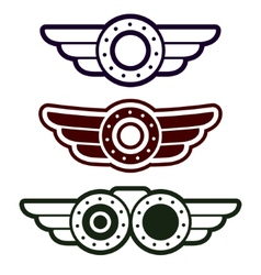 Steam punk emblem set vector