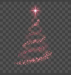 stylized red christmas tree as symbol happy new vector image