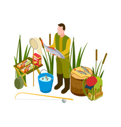 successful fisherman concept isometric vector image