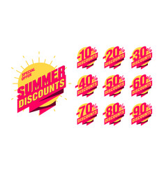 summer discount banner with percentage set for vector image