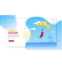 Summer vacation landing page offers parasailing vector