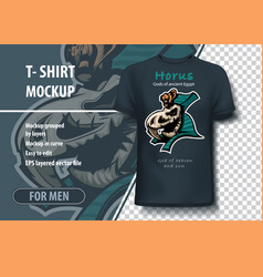 T-shirt template in on theme egyptian gods of vector