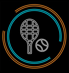 tennis racket with tennis ball sport icon vector image