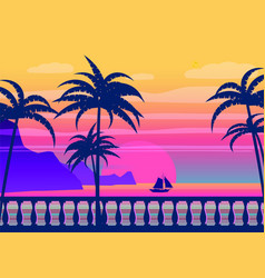 Tropical sunrise at seashore sea landscape with vector