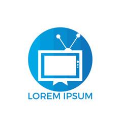 tv logo design template vector image