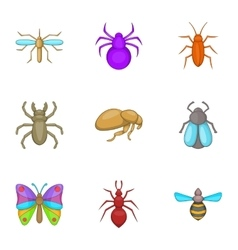 Types of insects icons set cartoon style vector image