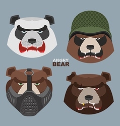 Wild angry bears set Angry Panda bear in a vector image