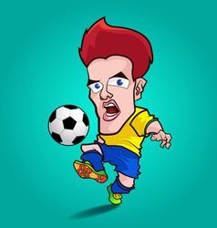 yellow shirt play football cartoon vector image