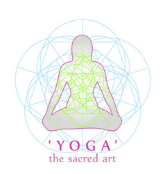Yoga position with sacred geometry vector