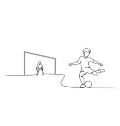 young boy play football with goalkeeper boy vector image