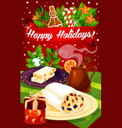 christmas and new year dinner festive poster vector image