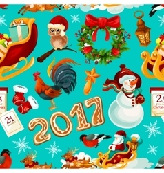 New Year and Christmas holidays seamless pattern vector image