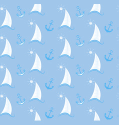 seamless pattern sailboat on waves and an anchor vector image vector image