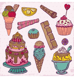 Set of Cakes Sweets and Desserts vector image vector image