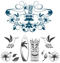 tiki and surf vector image