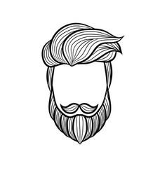 beard man logo element - vector image
