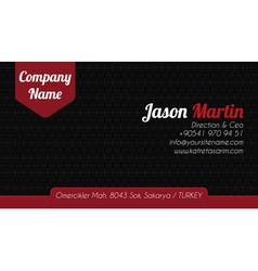 Black red corporate business card vector image vector image