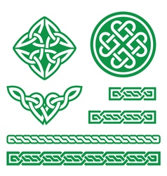 Celtic green knots braids and patterns - vector image