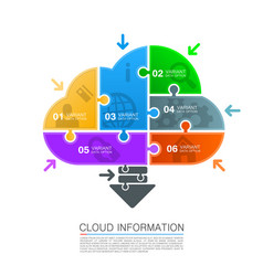 cloud data with icons puzzle vector image vector image