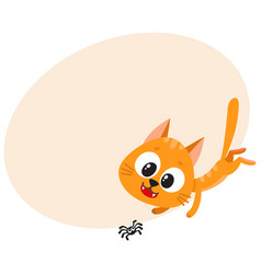 cute and funny red cat character chasing hunting vector image vector image
