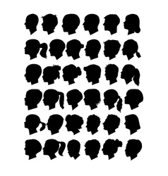Head profile silhouettes vector image vector image