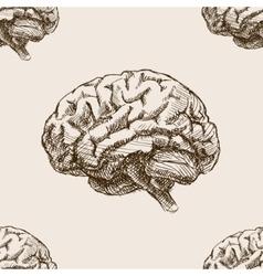 Human brain sketch style seamless pattern vector image