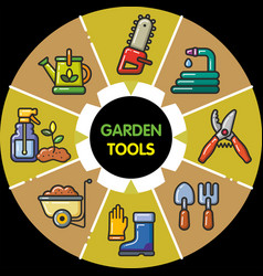 infographic set of garden tools vector image vector image