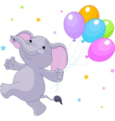baby elephant with balloons vector image vector image