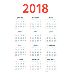 calendar for 2018 with noted us holidays vector image