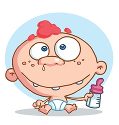 Caucasian Baby In A Diaper Holding A Bottle vector image vector image