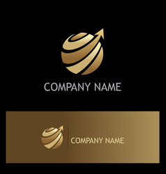 globe sphere arrow technology gold logo vector image