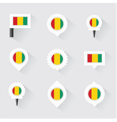 guinea flag and pins for infographic and map vector image vector image