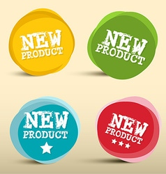 New Product Colorful Circles Labels Set vector image vector image