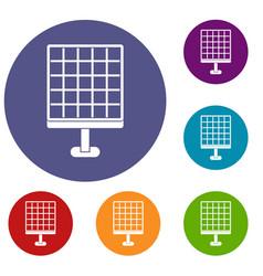 Solar panel icons set vector