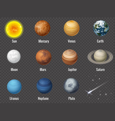 solar system planets on transparent background vector image