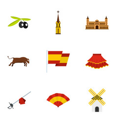 spain travel icons set flat style vector image
