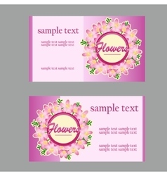 Two floral style cards with lilac disign in pink vector image vector image