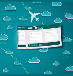Air ticket on sky background vector image