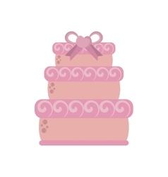 Big wedding cake pink ribbon heart vector