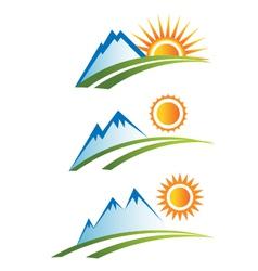 Set of mountain with sun vector