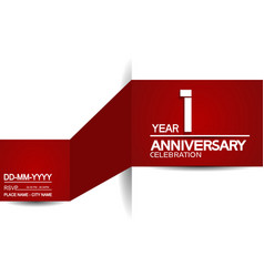 1 year anniversary design with red and white vector