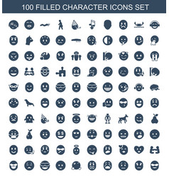 100 character icons vector