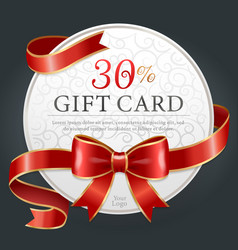 30 percent discount gift card certificate vector image