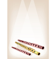 A musical flute on brown stage background vector